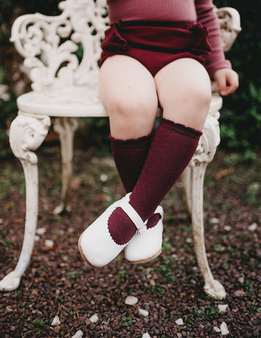 Picnic Knee-High Socks - Plum