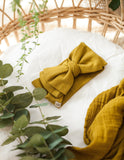 Organic Baby Bow Headwrap - Golden Olive