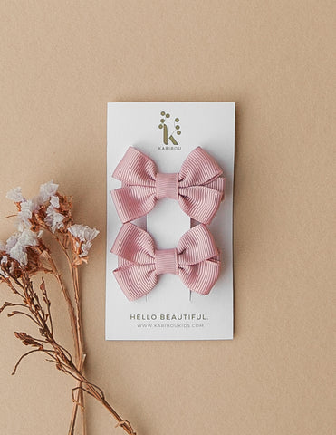 Harper 2pc Bow Hairclip Set - Dusty Rose