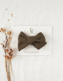 Ice-Cream Days Waffle Bow Headband or Clip - Olive