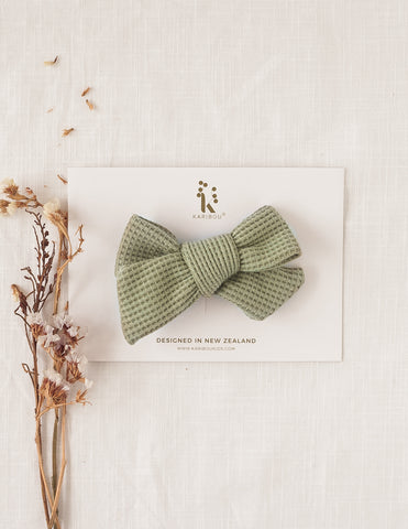 Ice-Cream Days Waffle Bow Headband or Clip - Pistachio