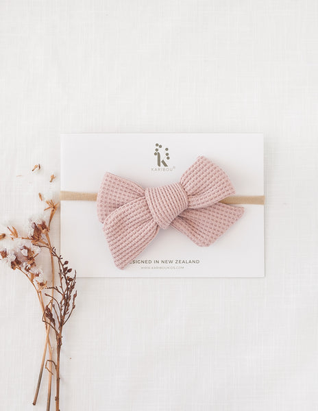 Ice-Cream Days Waffle Bow Headband or Clip - Strawberry Whip