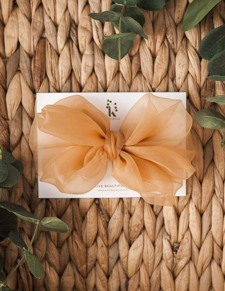 Mia Vintage Jumbo Organza Bow Hair Clip or Headband - Citrine