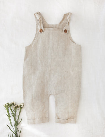 Teddy Linen Dungarees in Oatmeal