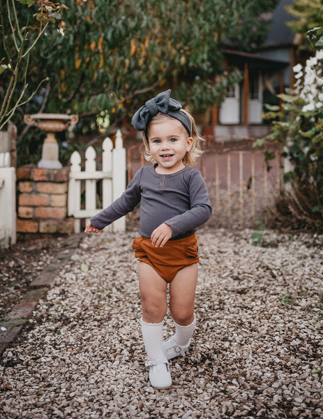 Georgia Ribbed Ruffle Bloomers - Vintage Gold