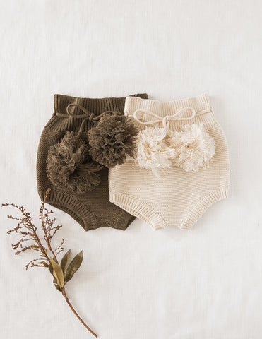 Gracie Cotton Knit Pompom Bloomers - Midnight Olive