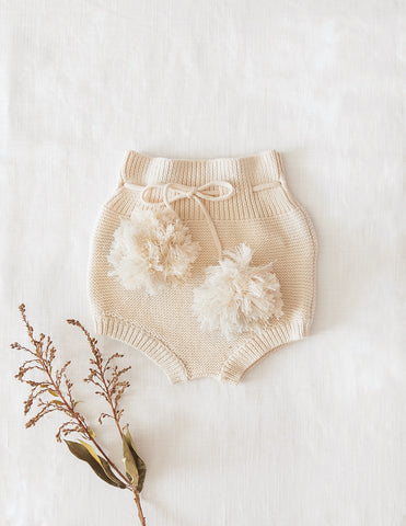 Gracie Cotton Knit Pompom Bloomers - Honey Cream