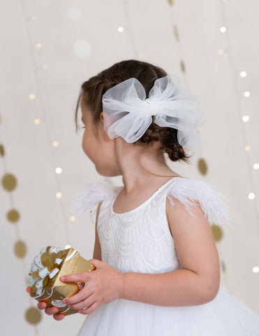 Mia Vintage Organza Bow Hair Clip or Headband - White