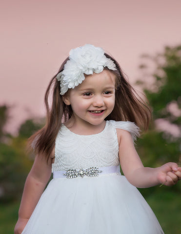 Little Princess Rhinestone Sash - White