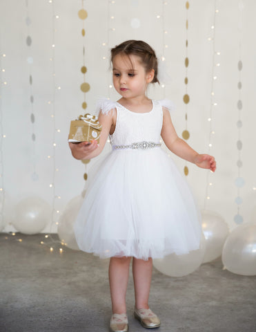 Sparkle Princess Rhinestone Sash - White