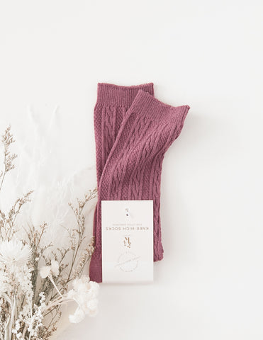 Rosie Cosy Knee-High Cable Knit Socks - Vintage Rose
