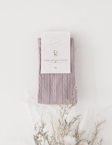 Rosie Cosy Cable Knit Tights - Lilac Powder