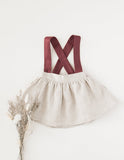 Coco 100% Linen Suspender Skirt - Frosted Cherry Edition