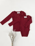 Willow Long Sleeve Henley Cotton Top - Storybook Red