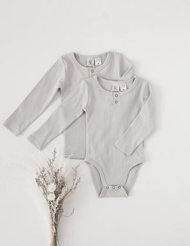 Willow Long Sleeve Cotton Bodysuit - Marble Grey