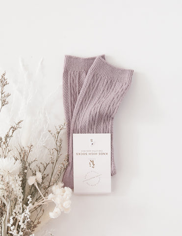 Rosie Cosy Knee-High Cable Knit Socks - Lilac Powder