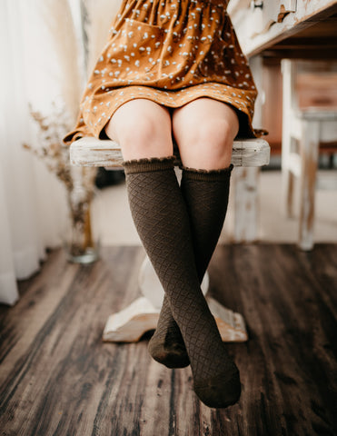 Picnic Knee-High Socks - Midnight Olive