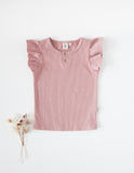 Keira Ribbed Flutter Sleeve Top - Blush