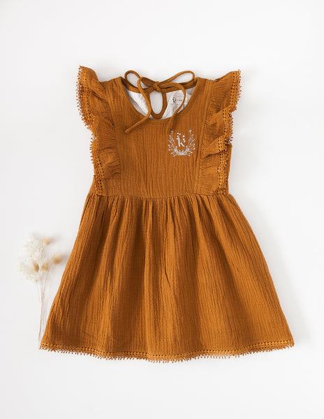 Little Angel Cotton and Lace Dress - Antique Gold