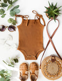 Sienna Ribbed Cotton Sunsuit in Antique Gold