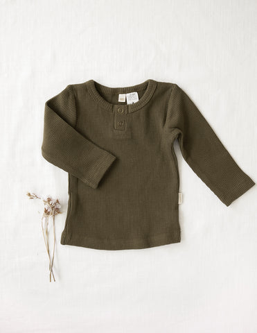 Willow Long Sleeve Waffle Cotton Unisex Top - Olive