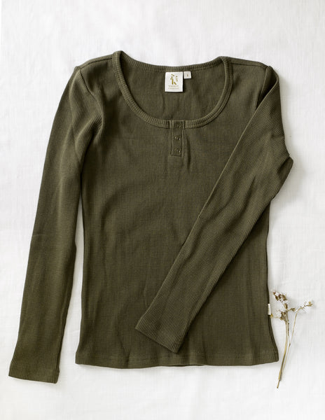 Ladies Willow Long Sleeve Waffle Henley Cotton Top - Olive