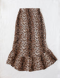 Wild and Free Ladies Leopard Print High-Low Skirt