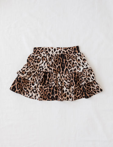 Wild and Free Ruffled Leopard Print Skirt