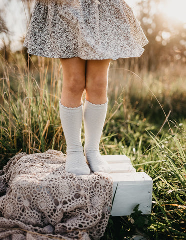 Picnic Knee-High Socks - Cloud