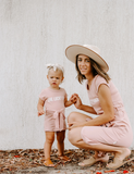 'One Lucky Mama' Ladies Cotton T-shirt Dress - Dusty Pink