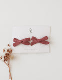 School Girl Linen Bow 2pc Clip Set or Headband - Mauve