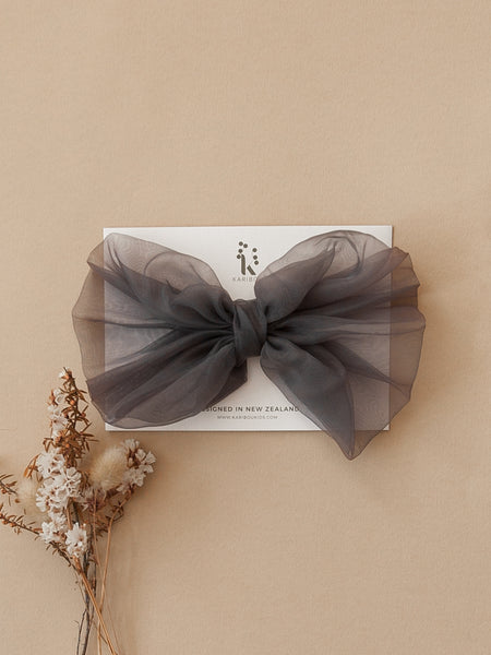 Mia Vintage Organza Bow Hair Clip or Headband - Slate