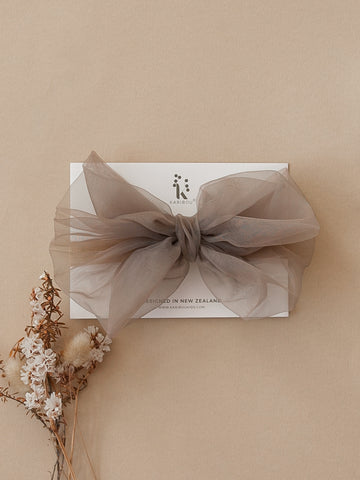 Mia Vintage Organza Bow Hair Clip or Headband - Mocha