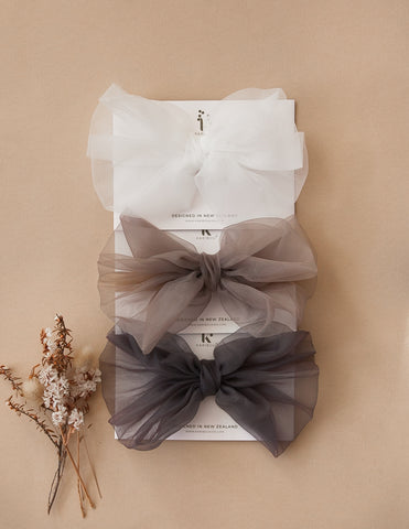 Mia Vintage Organza Bow  Hair Clip - 3pc Pack - Chocolatte