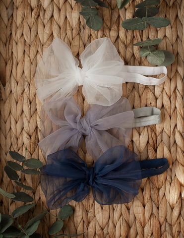 Mia Vintage Organza Bow Hair Clip or Headband - Navy