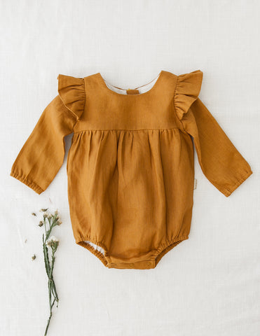 Milana Winged Linen Playsuit - Vintage Gold