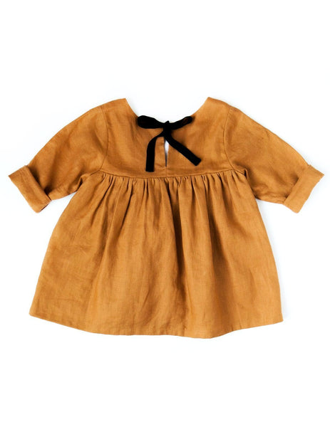 Kids and Baby Girls Linen Long-sleeve Mustard Dress Karibou