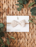 Lulu Linen Bow Headband or Clip - Natural