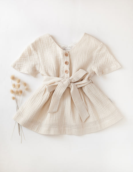 Off-Duty Girls Cotton Dress in Almond Milk