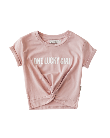 'One Lucky Girl' Kids Cotton T-shirt - Dusty Pink