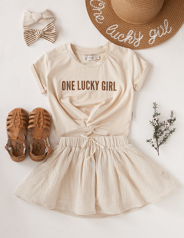 'One Lucky Girl' Kids Cotton T-shirt - Almond Kiss