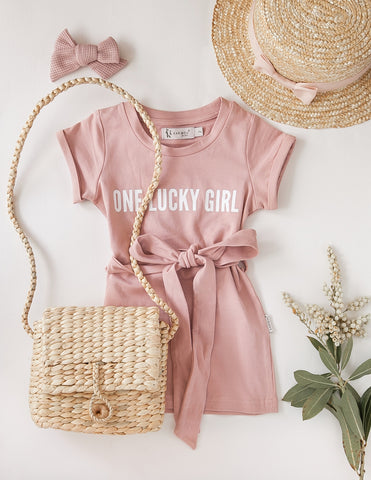 'One Lucky Girl' Cotton T-shirt Dress - Dusty Pink