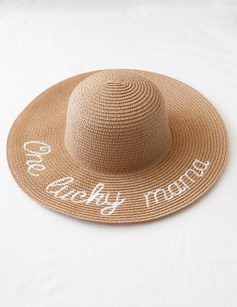 'One Lucky Girl' and 'One Lucky Mama' Wide Brim Sun Hats