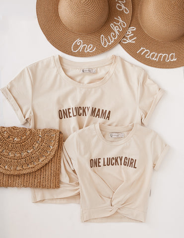 'One Lucky Mama' Ladies Cotton T-shirt - Almond Kiss