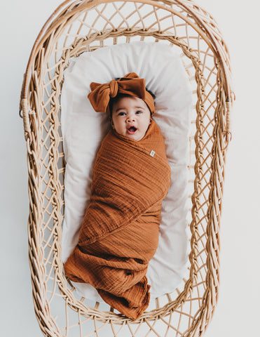 Organic Cotton Baby Swaddle - Burnt Orange
