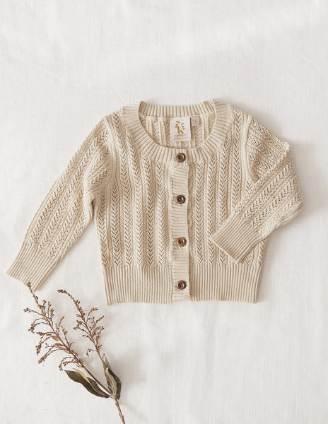 Penny Light Cotton Knit Cardigan - Oatmeal