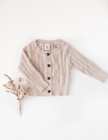 Penny Light Cotton Knit Cardigan - Rose Cream