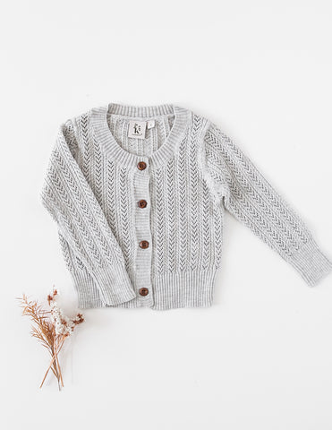 Penny Light Cotton Knit Cardigan - Marle Grey