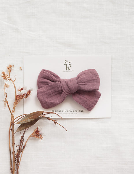 Peppa Muslin Bow Headband or Hair Clip - Wild Rose