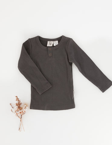 Willow Long Sleeve Henley Cotton Top - Pepper